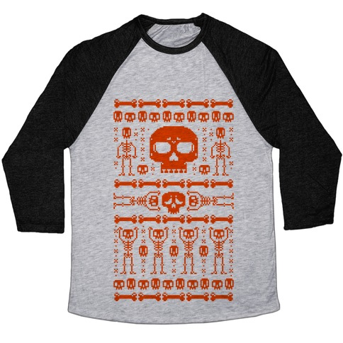 Ugly Skeleton Sweater Baseball Tee