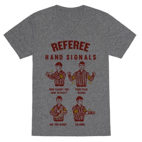 Funny Referee Hand Signals V-Neck Tee Shirt