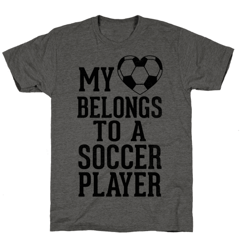 My Heart Belongs to A Soccer Player (Baseball Tee) Mens T-Shirt
