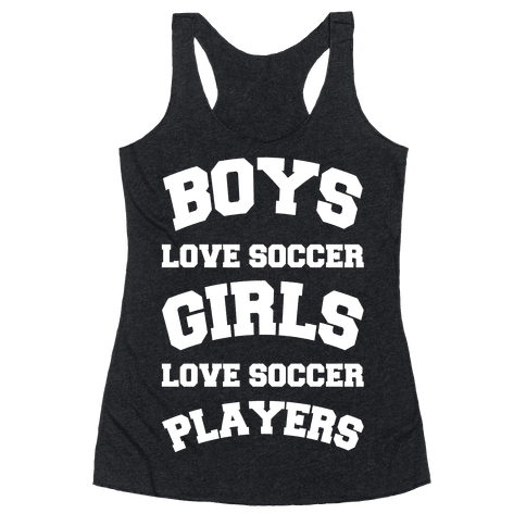 Boys and Girls Love Soccer Racerback Tank Top
