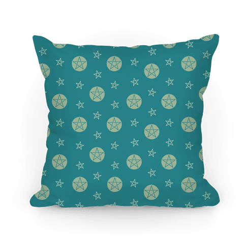 Blue Wicca Pentacle Pattern Pillow