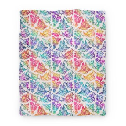 Floral Penis Rainbow Blanket