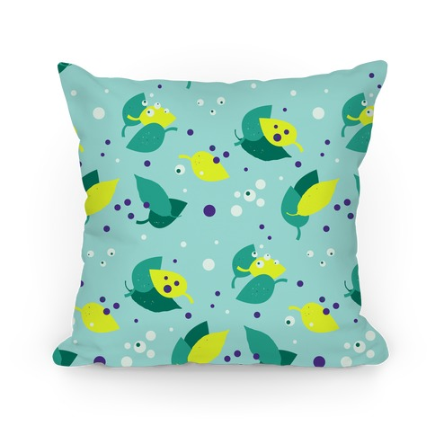 Blue Forest Floor Leaves Pattern Pillow