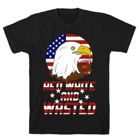 Red, White And Wasted Mens T-Shirt