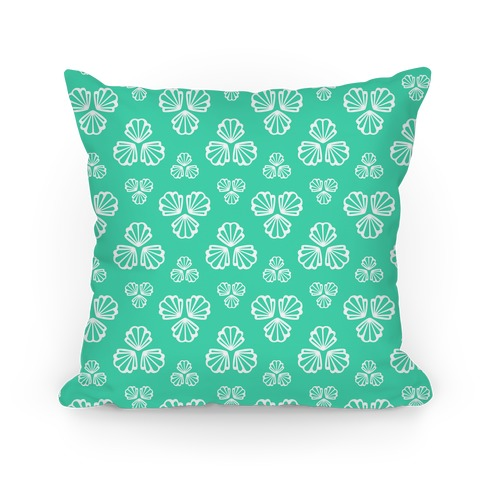 Aqua Green Seashells Pattern Pillow