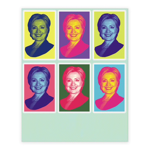 Pop Art Hillary Clinton Sticker and Decal Sheet