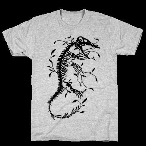 Floral Dinosaur Mosasaur Mens T-Shirt