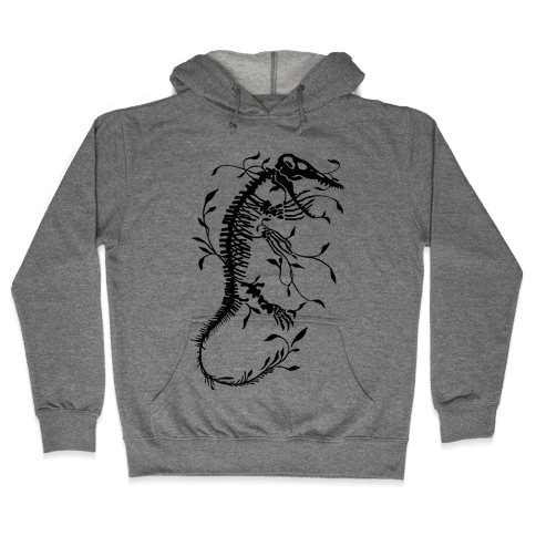 Floral Dinosaur Mosasaur Hooded Sweatshirt