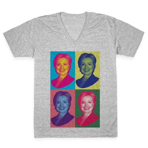 Pop Art Hillary Clinton V-Neck Tee Shirt