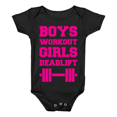 Boys Workout Girls Deadlift Baby Onesy