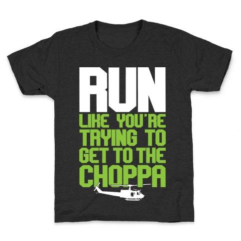 GET TO THE CHOPPA KIDS CHILDRENS T SHIRT FUNNT ARNIE SCHWARZENEGGER BOYS TOP