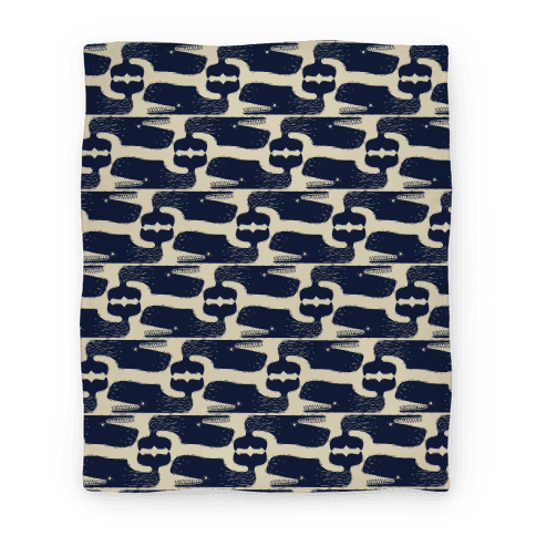 Vintage Nautical Whale Pattern Blanket