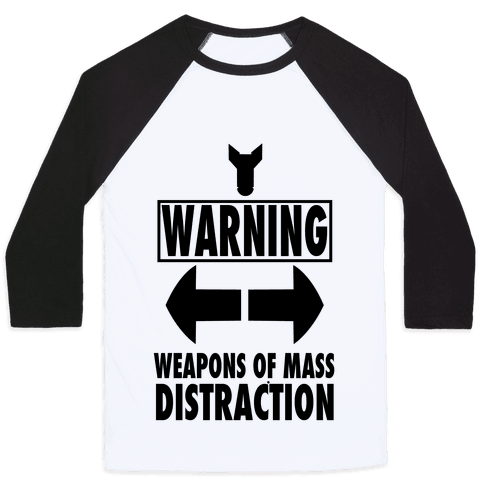 WARNING: Weapons of Mass Distraction (Tank) Baseball Tee