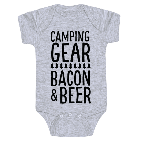 Camping Gear, Bacon, & Beer Baby Onesy