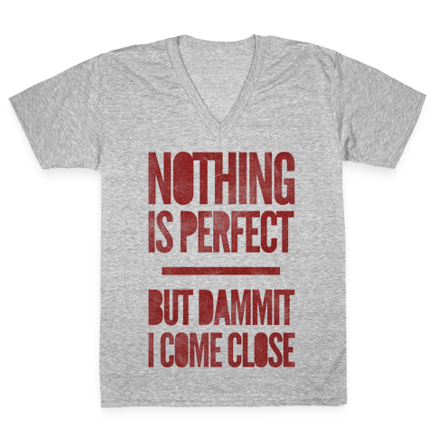Nothing Is Perfect But Dammit I Come Close V-Neck Tee Shirt
