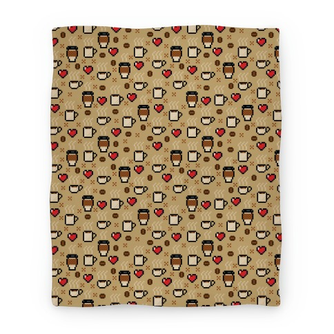 Coffee Pixel Art Pattern Blanket