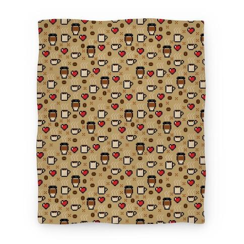 Coffee Pixel Art Pattern Blanket