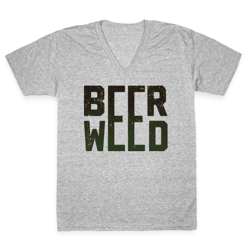 Beer & Weed V-Neck Tee Shirt