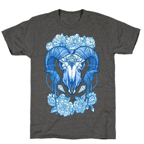 Flowery Ram Skull T-Shirt