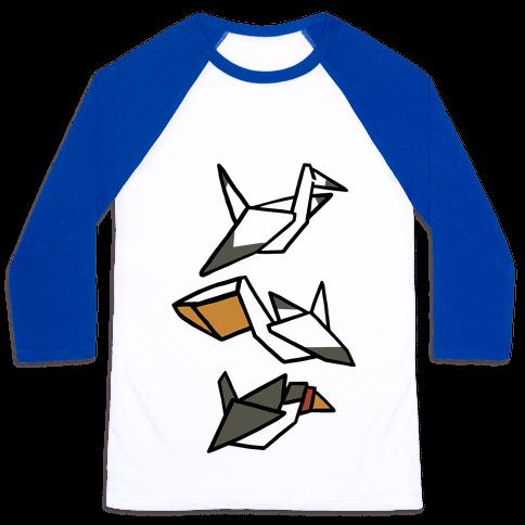 Nautical Origami Seabirds Baseball Tee