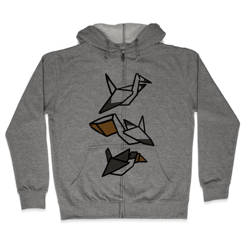 Nautical Origami Seabirds Zip Hoodie