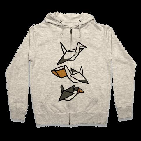 Nautical Origami Seabirds Zip Hoodie