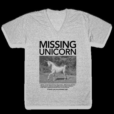 Missing Unicorn V-Neck Tee Shirt