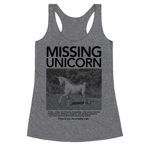 Missing Unicorn Racerback Tank Top