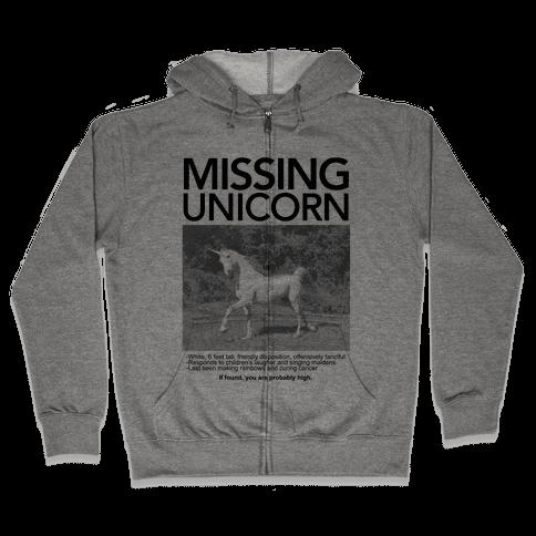 Missing Unicorn Zip Hoodie