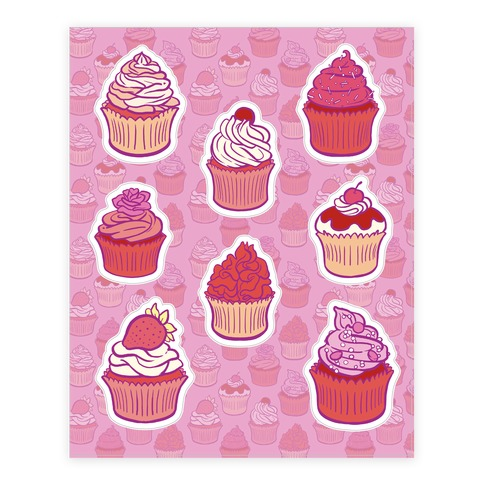 Pretty Pretty Cupcakes Sticker and Decal Sheet