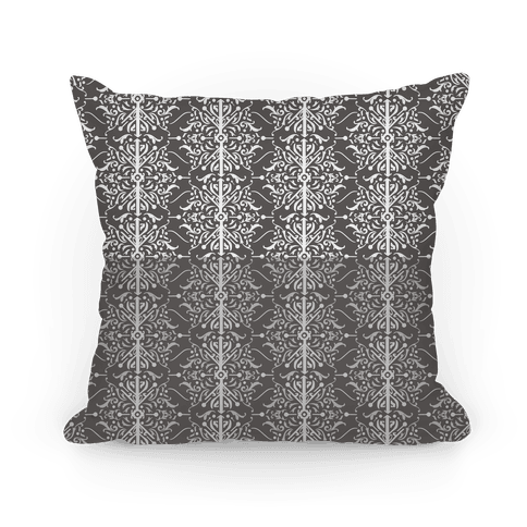 Gray and White Medieval Ombre Pattern Pillow