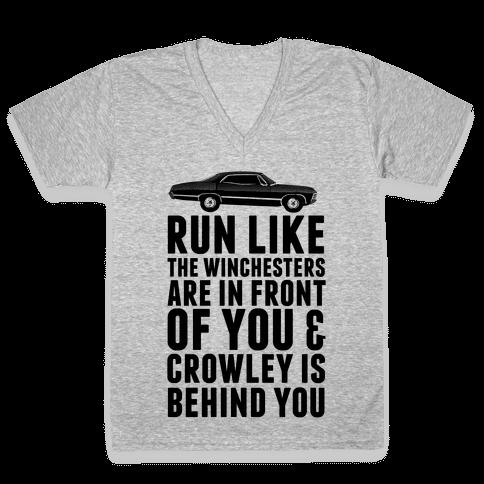 Run Like The Winchesters V-Neck Tee Shirt