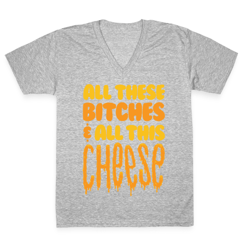 All These Bitches & All This Cheese V-Neck Tee Shirt