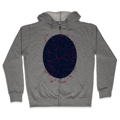 Constellation Star Pattern Zip Hoodie