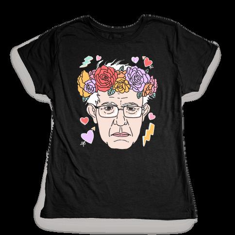 Bernie With Flower Crown Womens T-Shirt