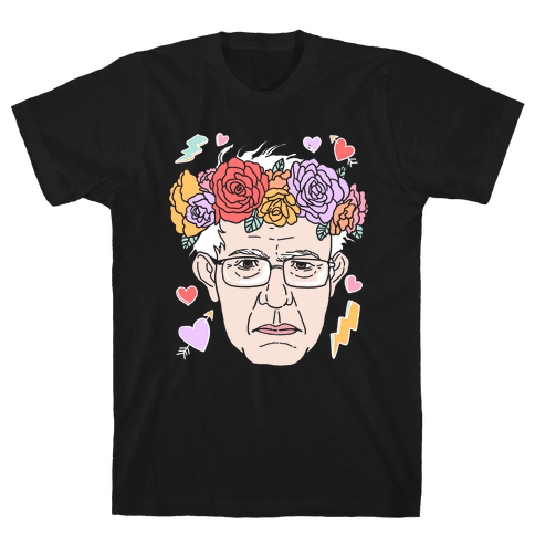Bernie With Flower Crown Mens T-Shirt
