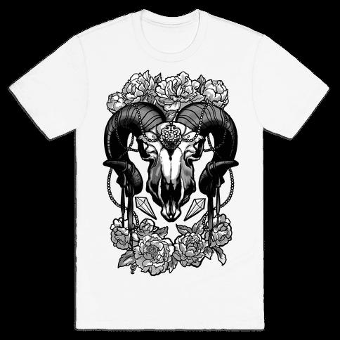 Flowery Ram Skull Mens T-Shirt