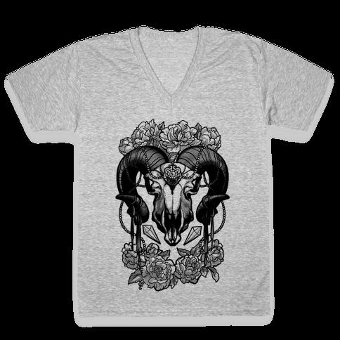 Flowery Ram Skull V-Neck Tee Shirt