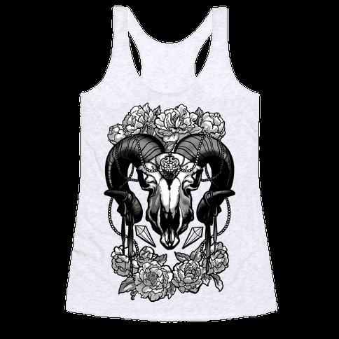 Flowery Ram Skull Racerback Tank Top