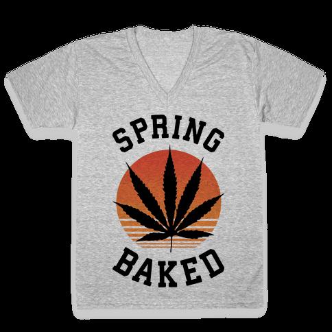 Spring Baked V-Neck Tee Shirt