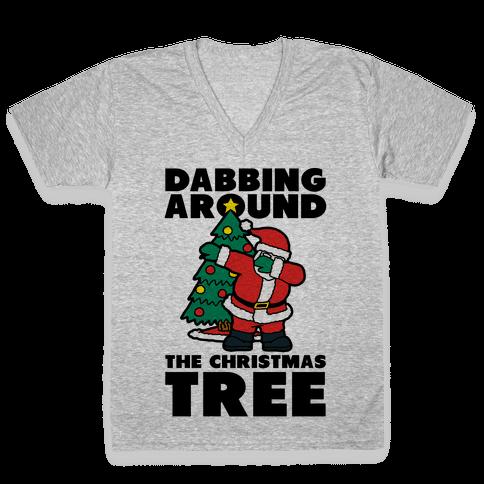 Dabbing Around the Christmas Tree V-Neck Tee Shirt
