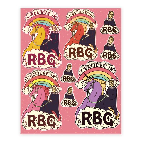 Ruth Bader Ginsburg on a Unicorn  Sticker/Decal Sheet