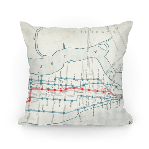Vintage New York City Map Pillow