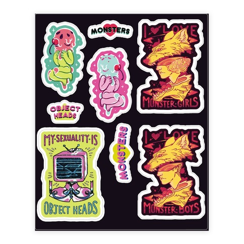 Monster and Object Head Sticker and Decal Sheet