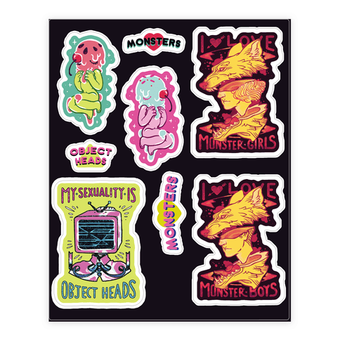 Monster and Object Head  Sticker/Decal Sheet