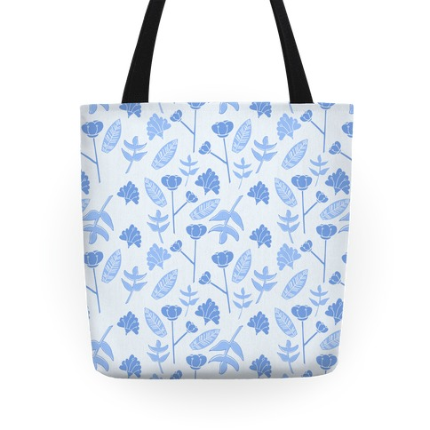 Floral Pattern (Blue) Tote