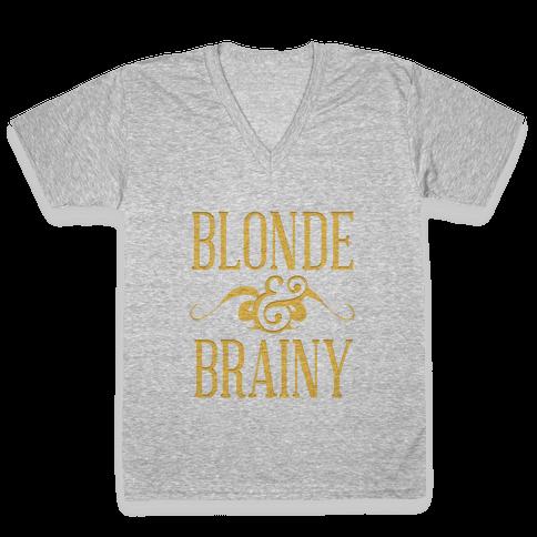 Blonde and Brainy (Dark Tank) V-Neck Tee Shirt