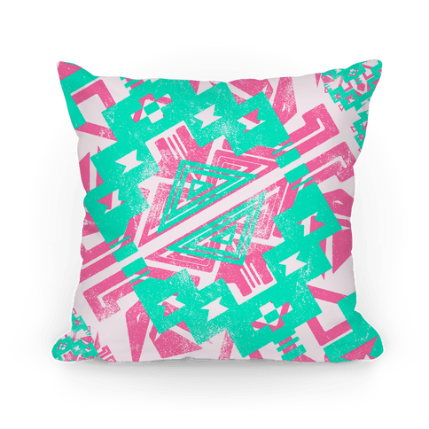 Mint and Pink Aztec Pattern Pillow