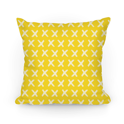 Yellow Criss Cross Pattern Pillow