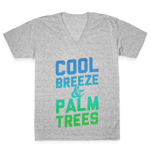 Cool Breeze & Palm Trees V-Neck Tee Shirt